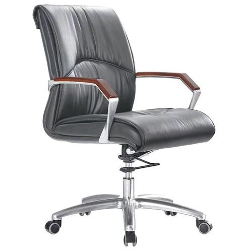 Ghế văn phòng D805M, chất liệu: PU, tay ốp gỗ, chân thép mạ
