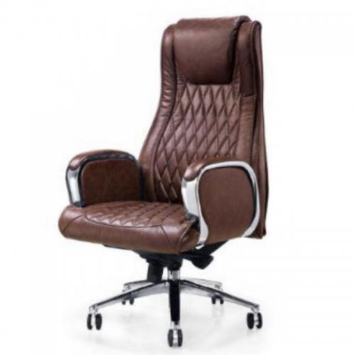Ghế văn phòng LS-1202A, chất liệu: da thật, chân thép mạ
