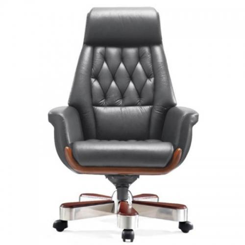 Ghế văn phòng LS-1505A, chất liệu: da cao cấp, chân inox xước ốp gỗ